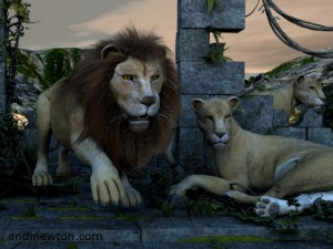 a computer-generated image of a lion and two lionesses in a jungle ruin