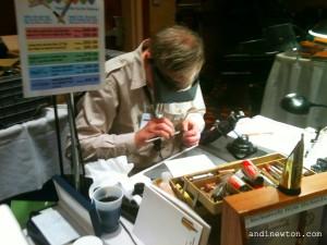 Richard Binder working on a fountain pen