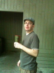 Chad holding a cup