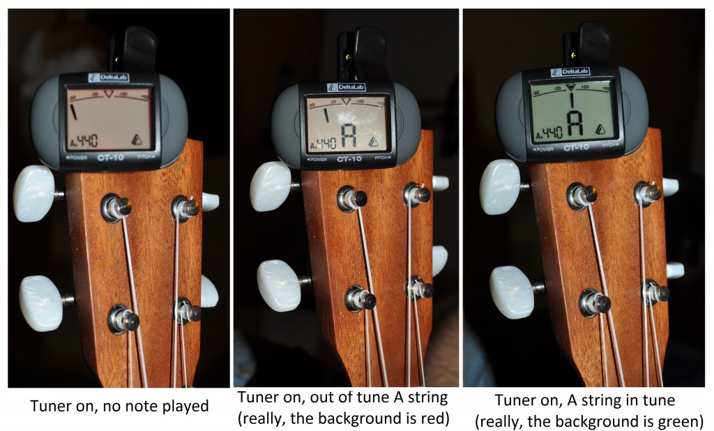 Three images showing a chromatic tuner that's one, with an out-of-tune A string, and with the A string in tune