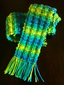 Green, yellow and blue knitted scarf with ribs, raised squares, and fringes